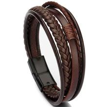 Pulseiras de couro genuíno na moda dos homens multicamadas de aço inoxidável trançado corda pulseiras para o sexo masculino feminino jóias