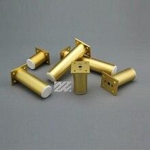 4 sztuk szlifowanie złota okrągły Dia.38mm stopu aluminium regulowane nóżki nogi meble szafka TV Cupbaord Sofa kanapa łóżko