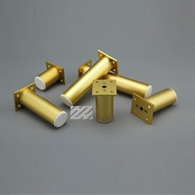 4Pcs Sanding Gold Round Dia.38mm Aluminum Alloy Adjustable Leveling Feet Leg Furniture TV Cabinet Cupbaord Sofa Couch Bed