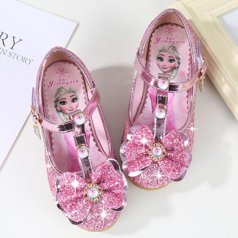 New Children Leather Sandals Child High Heels Girls Princess Summer Elsa Shoes Chaussure Enfants Sandals Party Anna Shoes