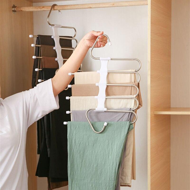 magic hanger multi functional pants storage rack wardrobe storage folding hanger retractable pants rack