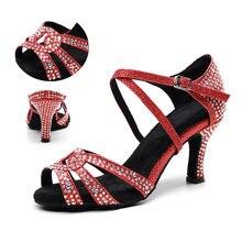 Женские туфли для латинских танцев стразы красная мягкая подошва