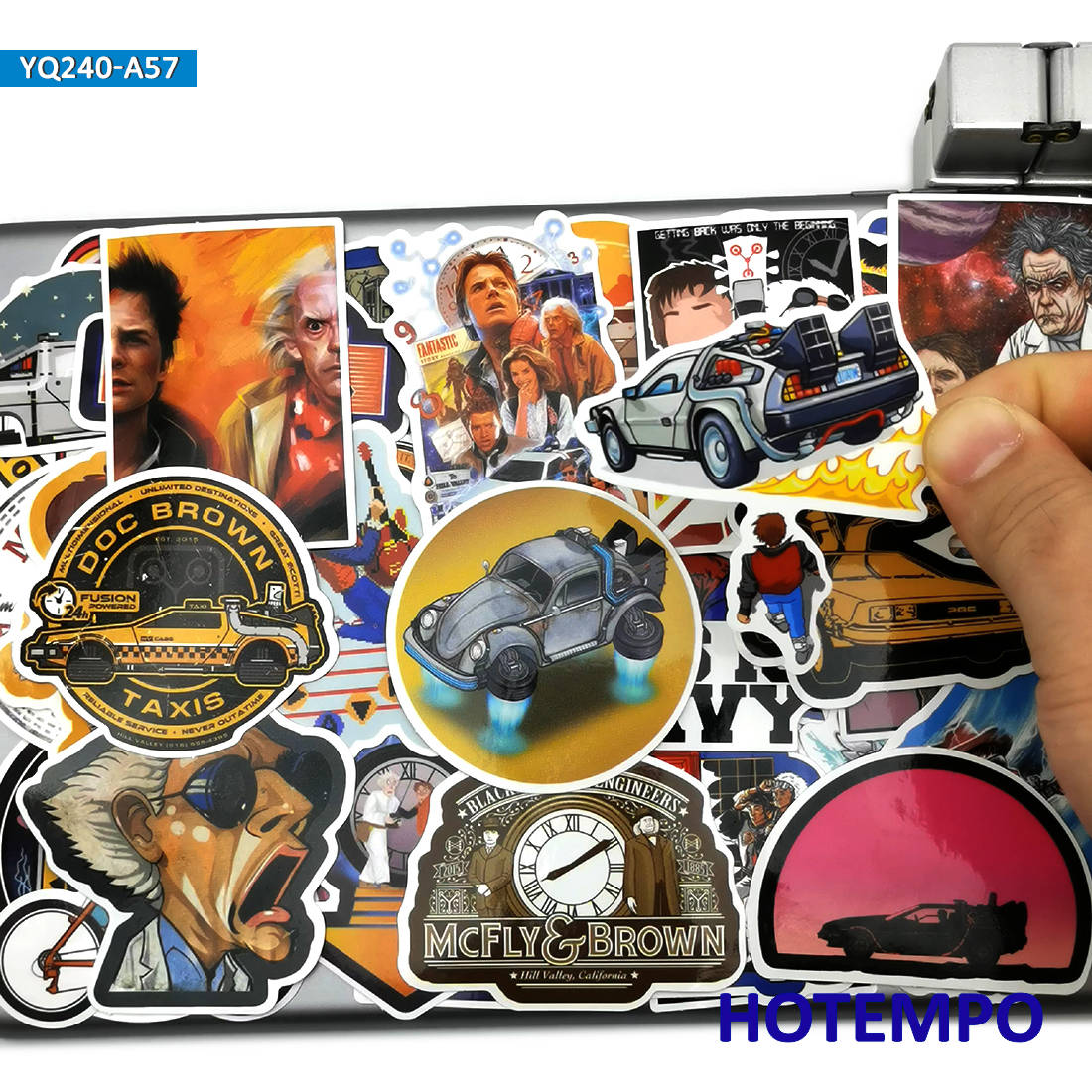 57pcs Back To The Future Classic Movie Style Stickers Toys For Kids Mobile Phone Laptop Suitcase Skateboard Car Decal Stickers