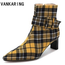 women boots british style flock velvet stretch casual fashion internal leather European American pop ankle for