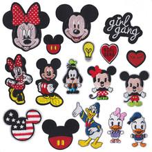 Disney Mickey Cartoon żelazko na łacie haftowane ubrania naszywki na odzież dla dzieci Umbreon naszywki na ubrania odzież aplikacje tanie tanio Puppets Unisex 8 cm Naklejki magnetyczne stiker Remastered version 3 lat Mickey patch Zachodnia animiation Zapas rzeczy
