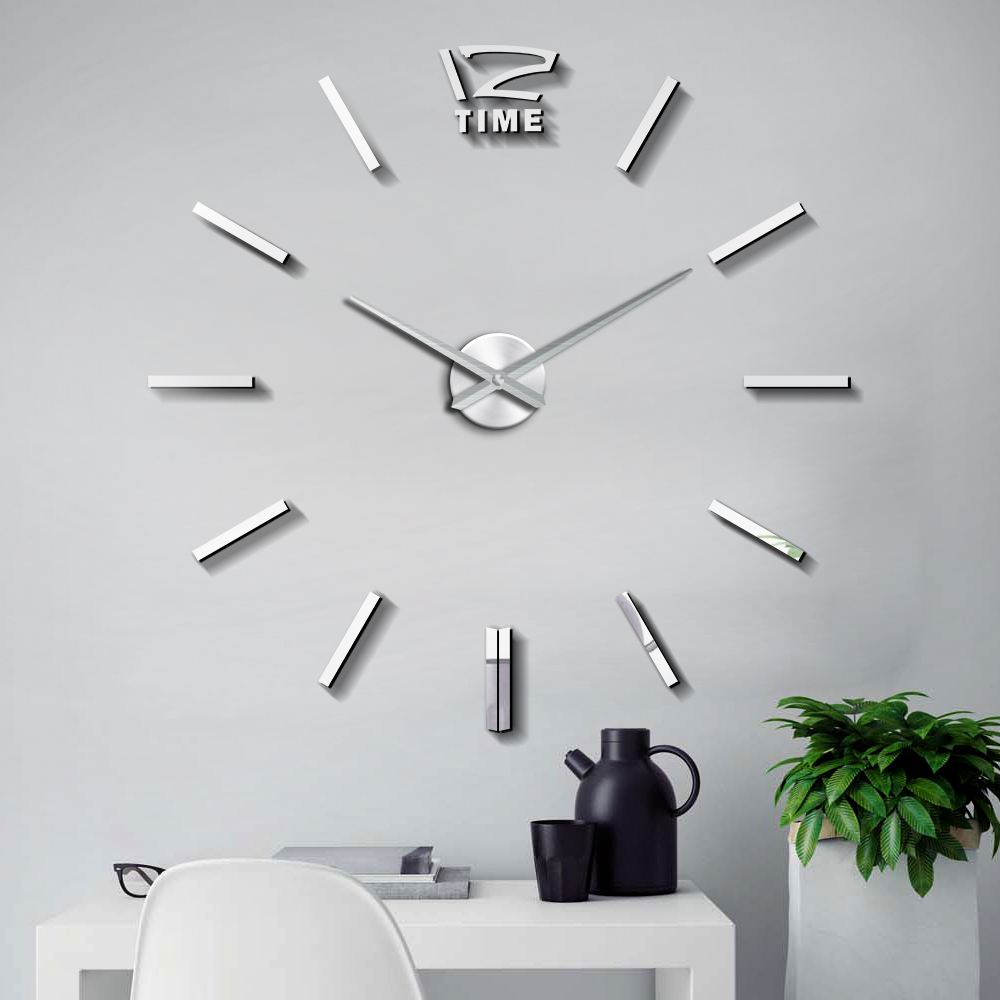 47 Inch Large 3D Wall Clock Watch 3D DIY Clocks Silent Acrylic Mirror Stickers Living Room Decor Quartz Needle Modern Design