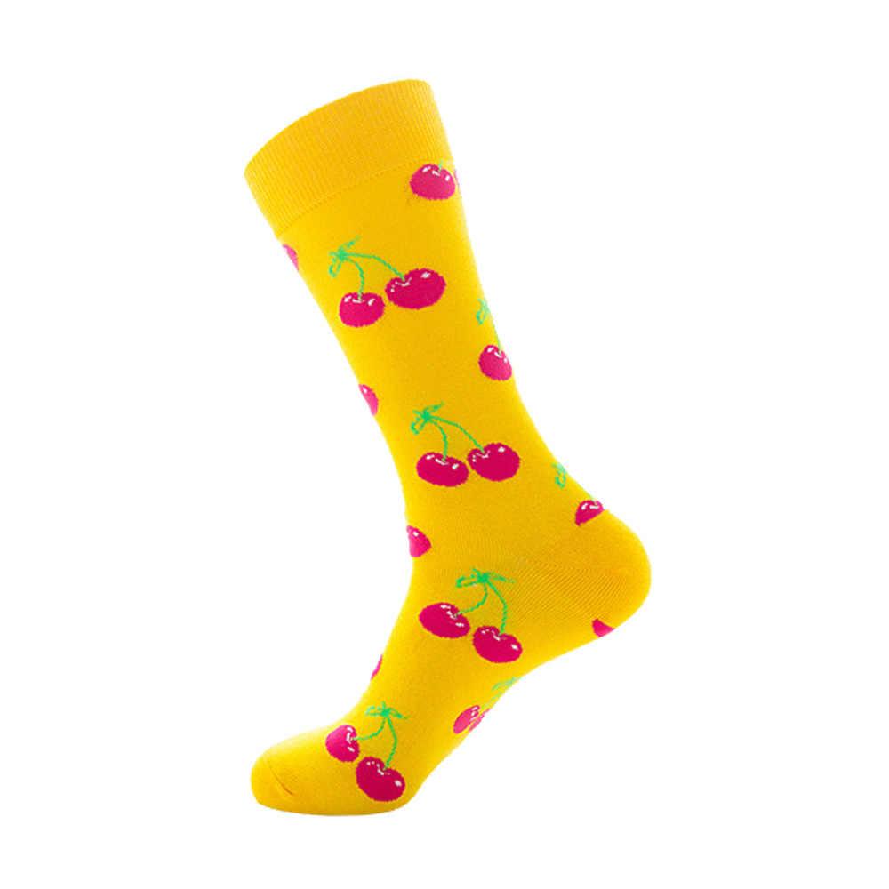 ถุงเท้าผู้ชายตลกน่ารักกราฟิกการ์ตูนผลไม้สีส้มเชอร์รี่กล้วยสตรอเบอร์รี่ญี่ปุ่น Harajuku สเก็ตบอร์ดถุงเท้า