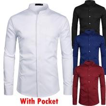 スタンド襟ホワイトメンズドレスシャツシングルポケットスリムフィットウェディングシャツ男性シュミーズオム無地カジュアルボタンダウンシャツ