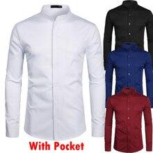 STAND COLLAR สีขาวเสื้อบุรุษกระเป๋าเดียว SLIM FIT เสื้อเชิ๊ตผู้ชาย Homme Casual ปุ่มลงเสื้อ