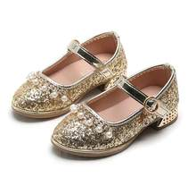 NEW Girls Pearl Fashion Baby Princess shoes Children's Casual Sequin shoes Girls Loafers Bead Dance Sandals(China)