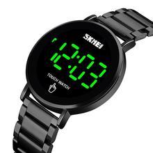 Skmei 남자 시계 디지털 시계 럭셔리 터치 스크린 led 라이트 디스플레이 전자 손목 시계 스테인레스 스틸 남자 시계 reloj