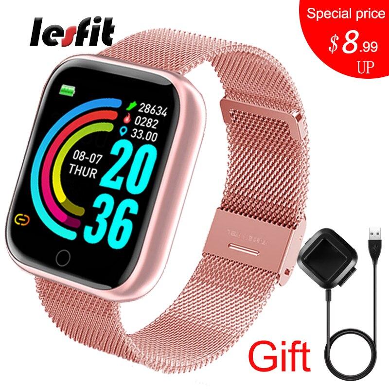 Lesfit rosa relógio inteligente mulher masculino smartwatch para android ios bluetooth pulseira de