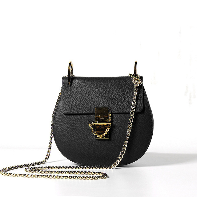 Moda Femminile Genuino Borsa di Cuoio di Alta Qualità Della Pelle Bovina di Spalla Delle Donne Borse Designer Anulare Anello di Metallo Delle Signore Crossbody Bag