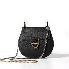 Moda kadın hakiki deri çanta yüksek kaliteli dana omuz kadın çanta tasarımcısı halka şeklindeki Metal halka bayanlar Crossbody çanta