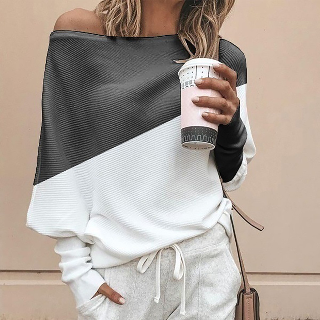 Autumn Women Sweater Fashion Patchwork Knitted Loose Pullover Batwing Long Sleeve One Shoulder Female Thin Sweater Blouse