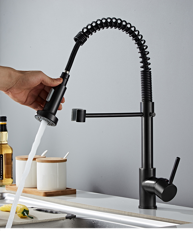 H9646cca16e1e47f390abb9bc1e2fa08ba Deck Mounted Flexible Kitchen Faucets Pull Out Mixer Tap Black Hot Cold Kitchen Faucet Spring Style with Spray Mixers Taps E9009