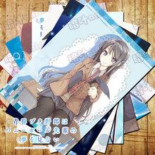 10 pçs/lote anime seishun buta yarou série mai sakuta poster adesivos brinquedos 10 imagem da parede em quadrinhos para coleção tamanho 42x29cm