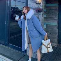winter down jacket coat female bread han edition belt long park cotton padded clothes in the winter jacket