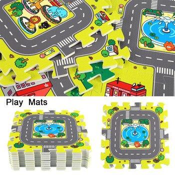 9pcs 30*30cm Baby Playmat EVA Foam Puzzle Floor Pad No Edge Carpet City Road Education Exercise Mat Baby Indoor Crawling Mat