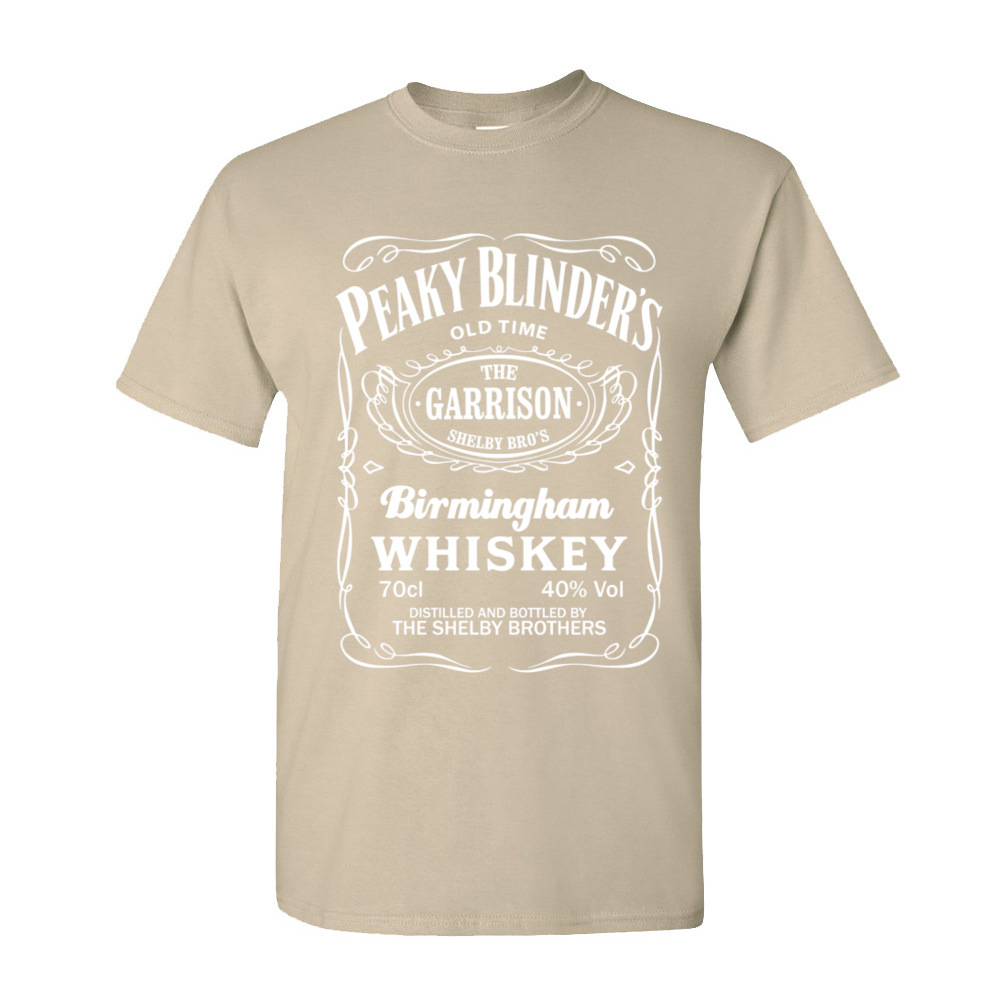 Plain Peaky Blinders Whiskey Printed On Short Sleeve Tshirts Father Day O-Neck Cotton Tops Shirts for Men T-Shirt Custom Peaky Blinders Whiskey-253 beige