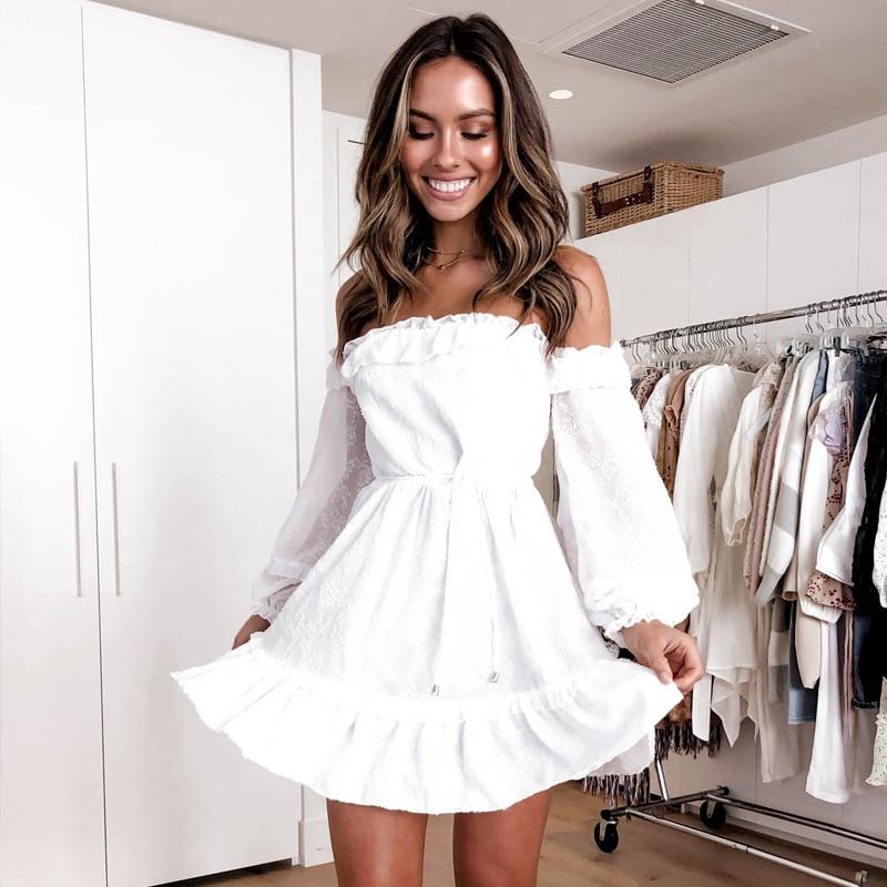 2020 Slash Neck Chiffon White Dresses Off Shoulder Lantern Sleeve Women Dress Beach Cover Up Ruffle Short Boho Summer Dress