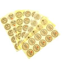 100pcs Vintage Fashion Heart Thank you Happy Birthday Dandelion Series Round Kraft Paper Sticker For Gift Seal Label