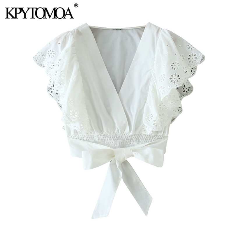 KPYTOMOA Women 2020 Sweet Fashion Hollow Out Embroidery Cropped Blouses Vintage Ruffled Bow Tied Female Shirts Blusas Chic Tops