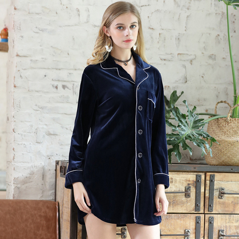 2020 autumn new golden velvet Nightdress  women sexy shirt long sleeve nightdress noble home clothes Nighties Sleepwear