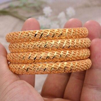 ANNAYOYO-brazaletes de Color dorado africano para mujer, 4 unidades/lote, brazaletes de sarga...