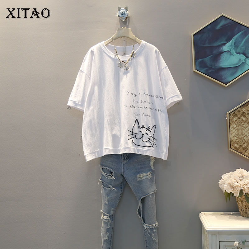 XITAO Embroidery Letter T Shirt Fashion New Pullover Short Sleeve 2020 Spring Pattern Pleated Minority Style Tee DMY4085