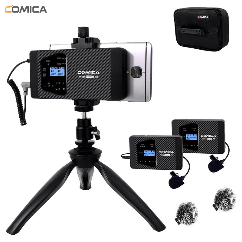Comica CVM-WS60 Wireless Lavalier Lapel Microphone For IPhone Android Smartphone Mic For Interview Volgging Video Recording