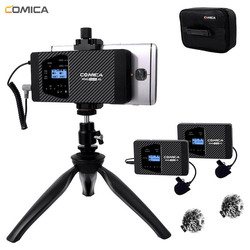 Wireless Smartphone Microphone Comica CVM-WS60 Lavalier Lapel Microphone for iPhone/Sumsang Huawei Android Phone Video Recording