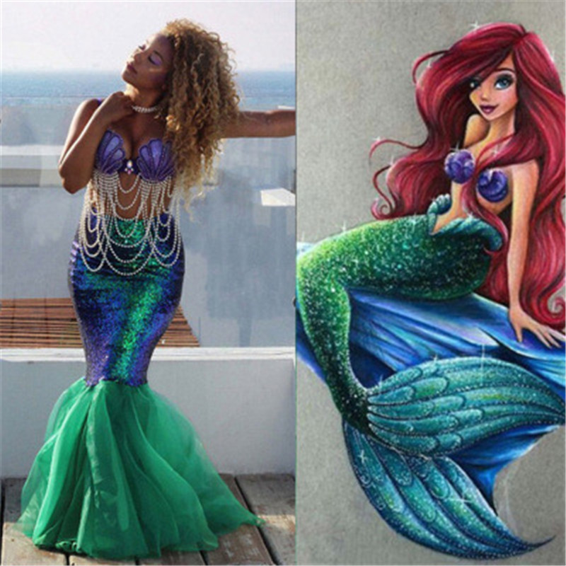 Halloween Sexy Adult Women Girl Mermaid Tails Cosplay Costumes Princess Ariel Dress Clothes Fancy Party Sequins Tail Green Skirt