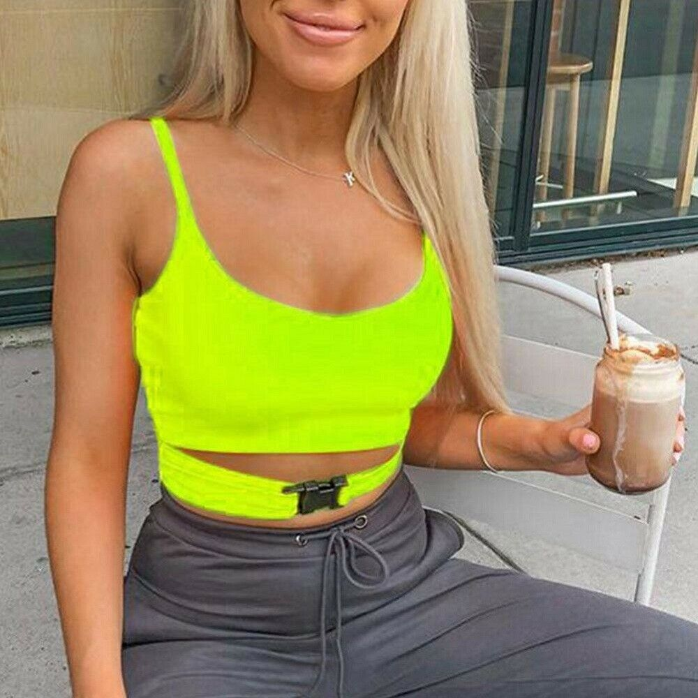 Sexy Summer Women Sleeveless Buckle Straps Camis Solid Casual Orange Neon Yellow Bustier Spaghetti Strap Crop Tops