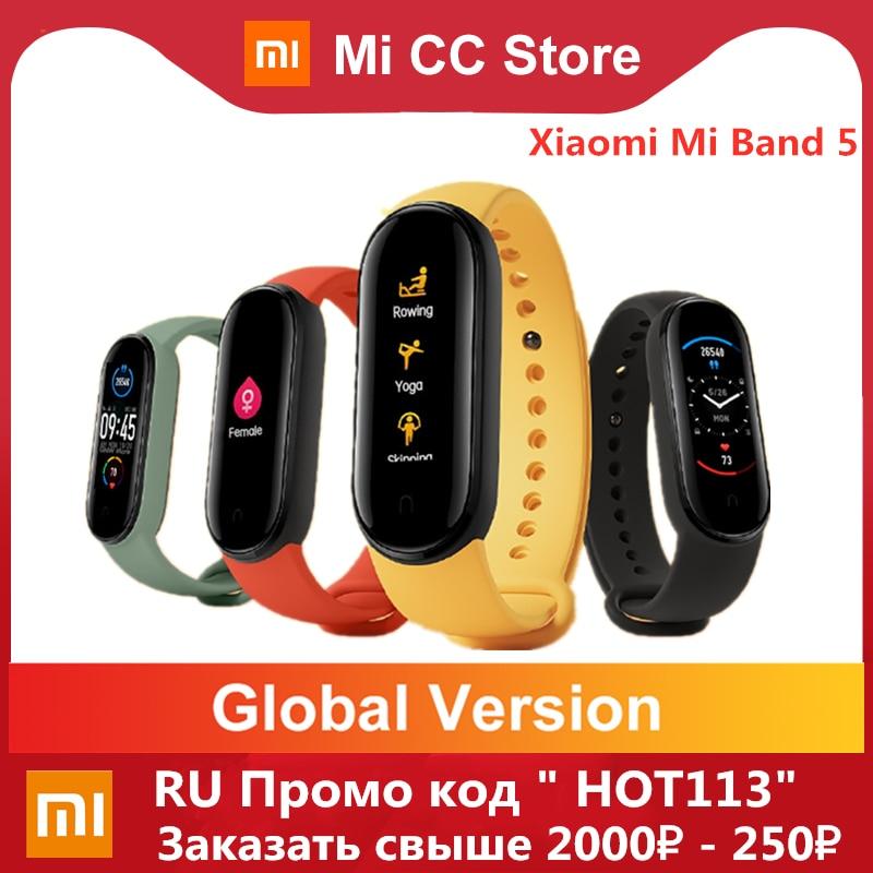 Global Version Xiaomi Mi Band 5 Bracelet Fitness Tracker Wristband 1 1Inch Colorful AMOLED Screen Waterproof Smart Band 5