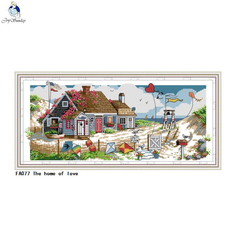Joy Sunday Embroidery The Home Of Love Patterns Printed On Canvas 14CT 11CT Cross Stitch Kits Needlework Sets
