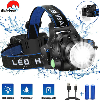 Poweful LED Headlamp L2 T6 Headlight Zoomable 3 Modes Camping Head Torch Fishing Head Light Uses 2x18650 Battery For Outdoor led headlamp fishing headlight 8000 lumen t6 l2 3 modes zoomable lamp waterproof head torch flashlight head lamp use 18650