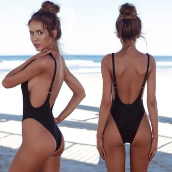 2019 Sexy Female Swimwear Sexy high cut One Piece swimsuit Backless swim suit Black White Red thong Bathing suit female Monokini