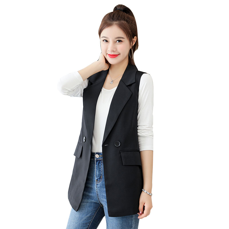 Plus Size Buttons Black Vest Women 2020 New Elegant Sleeveless Jacket Female Spring Coat Turn-down Collar Slim Waistcoat Summer