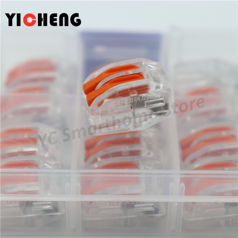 Image 5 - 20pcs box case Universal Compact Wire Wiring Connector 2 pin Conductor Terminal Block With Lever 0.08 2.5mm2 wire connector DIY-in Connectors from Lights & Lighting