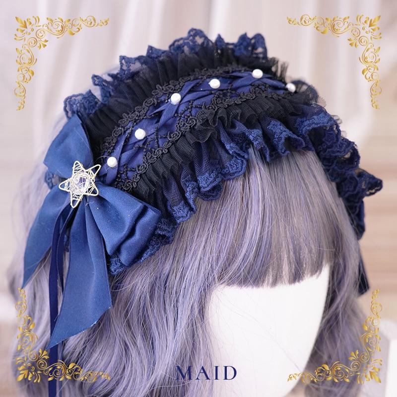 Star picking Magic Lolita Princess Headdress Cosplay Vintage Girl Bow Hair Band KC Headband Side Clip KC Choker Hand Sleeve