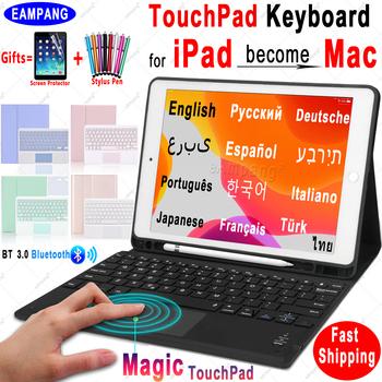 Magia TouchPad klawiatura dla iPad 10 2 przypadku klawiatury dla Apple iPad 9 7 2017 2018 Air 2 3 4 Pro 9 7 10 5 11 2018 2019 2020 8th tanie i dobre opinie eAmpang Z klawiaturą CN (pochodzenie) For iPad 7th Generation TouchPad Keyboard Case Cover Stałe 6 85inch BIZNESOWY For iPad 10 2 2019 TouchPad Keyboard Case Cover