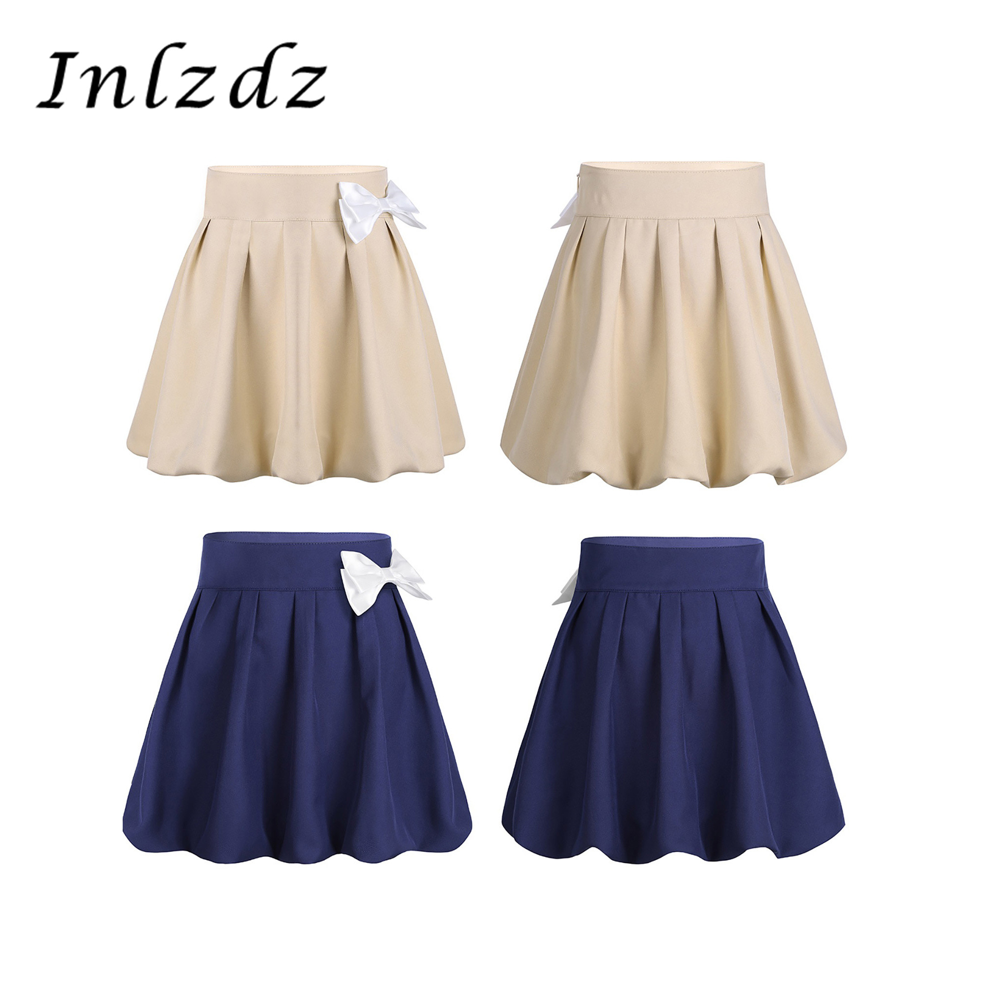 Kids Girls School Uniform Pleated Bowknot Scooter Sports Skirt With Hidden Shorts Elemently School Student's Mini Scooter Skirt