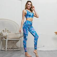 2020 2 Stuks Vrouw Sportkleding Fitness Sets Workout Gym Kleding Gedrukt Fitness Sports Bra Top + Leggings Running Trainingspak Pak(China)