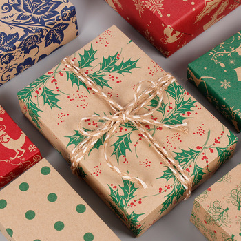 50*70cm 2020 Christmas Wrapping Paper Wedding Green Decoration Gift Wrap Artware Kraft Packing Paper Vellum Paper Origami Paper printing wrapping wax paper soap gift book waxed packing paper food grade rice paper