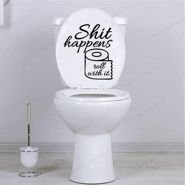 Poo Shit Happens Quote Wall Decal Hilarious Bathroom Wall Sticker Vinyl Toilet Decor Hj1215 Wall Stickers Aliexpress