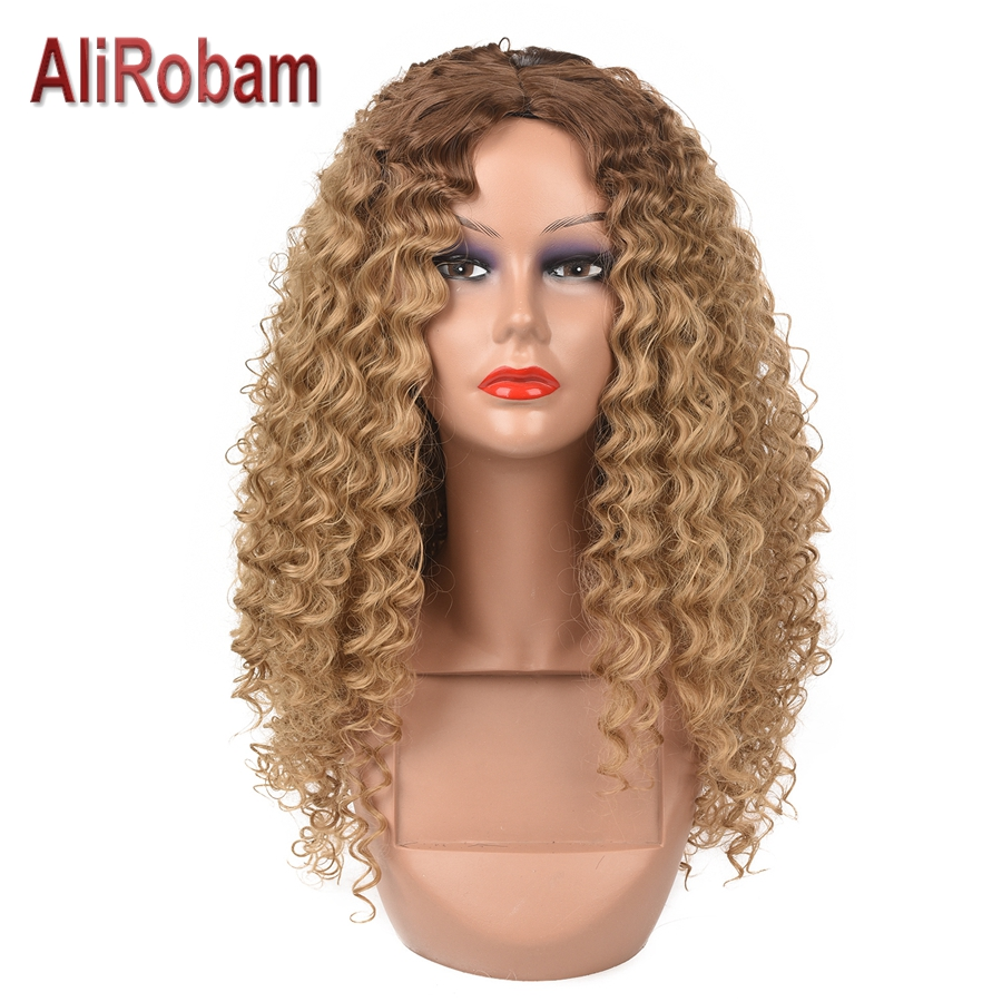 AliRobam афро кудрявые парики для черных женщин коричневые смешанные коричневые синтетические парики высокотемпературное волокно