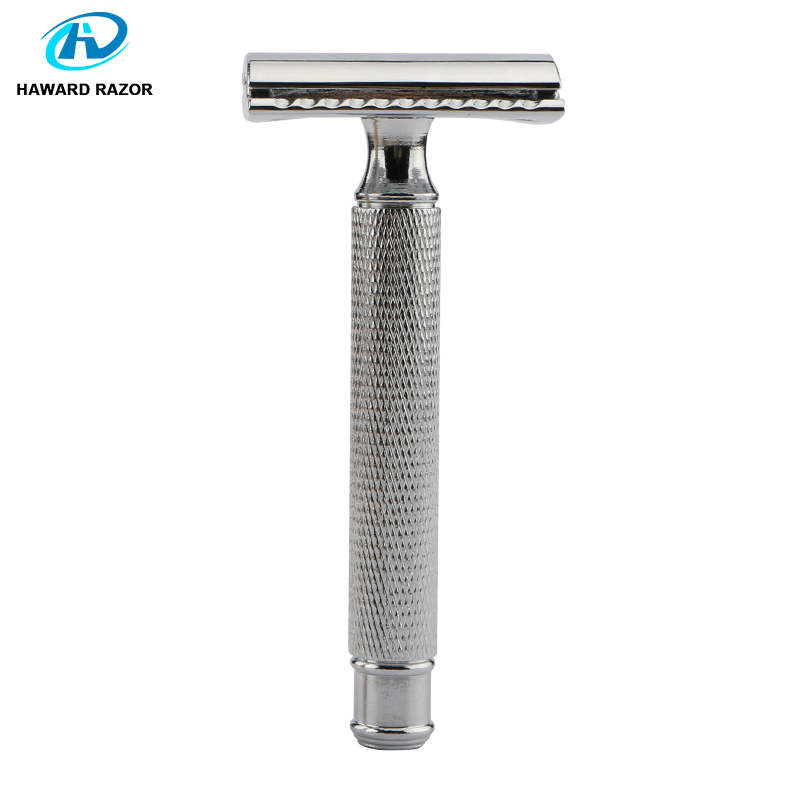 HAWARD Safety Razor Chrome Silver Men's Double Edge Razor Zinc Alloy Head Classic Manual Shaving Razor Women Hair Removal Shaver