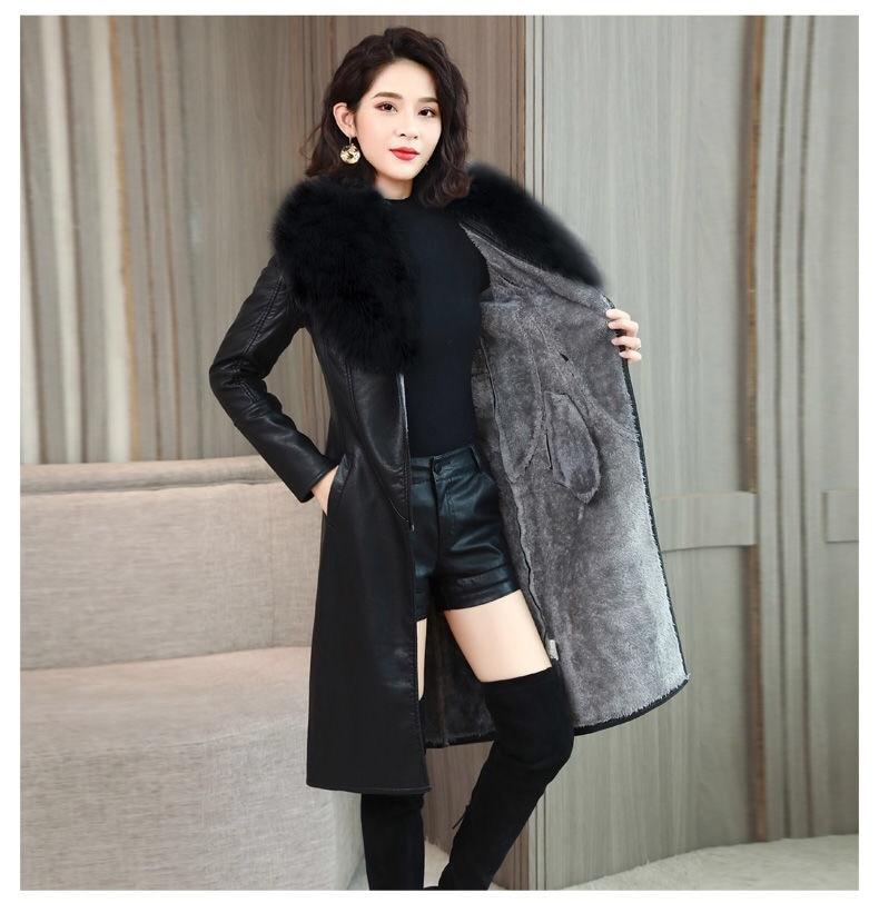 H96482048f9854e90b93f6215ff358179G Vangull Women's Leather Jacket for Winter 2021 New Plus Velvet Warm Slim Big Fur Collar Long Leather Coat Female Outerwear M-4XL