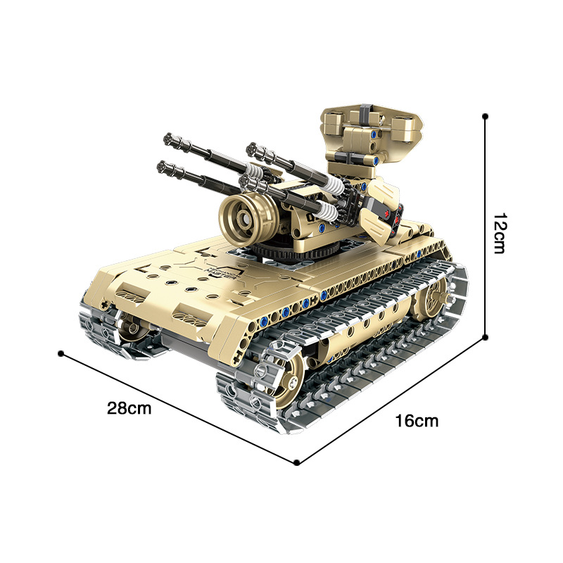 QIHUI 8012 Electric Remote Controlled Blocks Car Self-Propelled Anti-Aircraft Gun Tank Educational Fight Inserted DIY Toy A-Piec